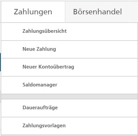 Screenshot E-Banking Daueraufträge