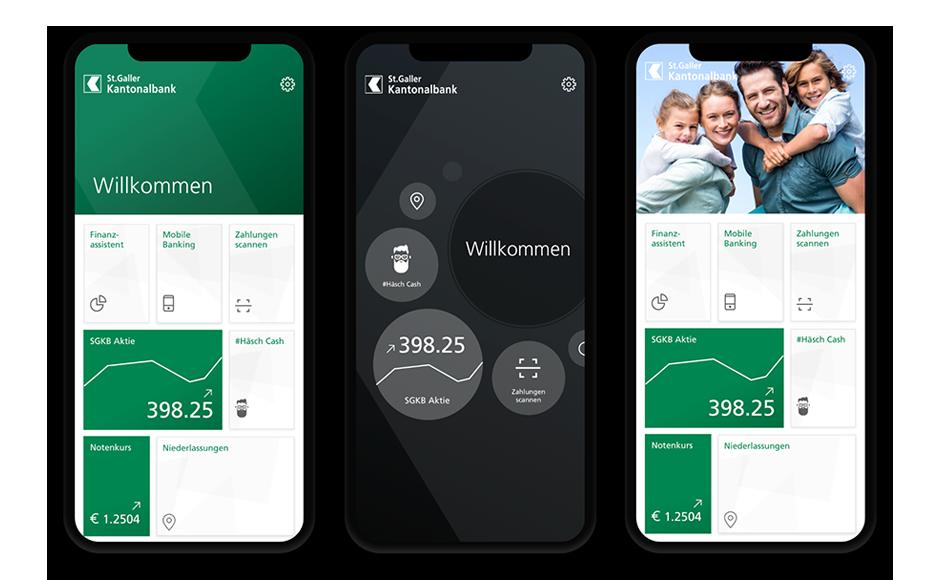 Das neues Design der SGKB-App