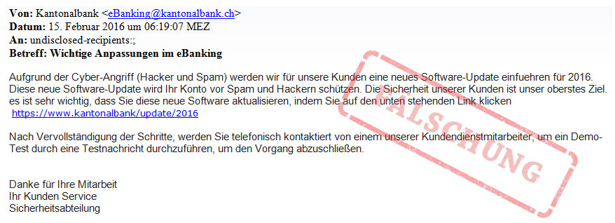 Betrugsversuch Phishing